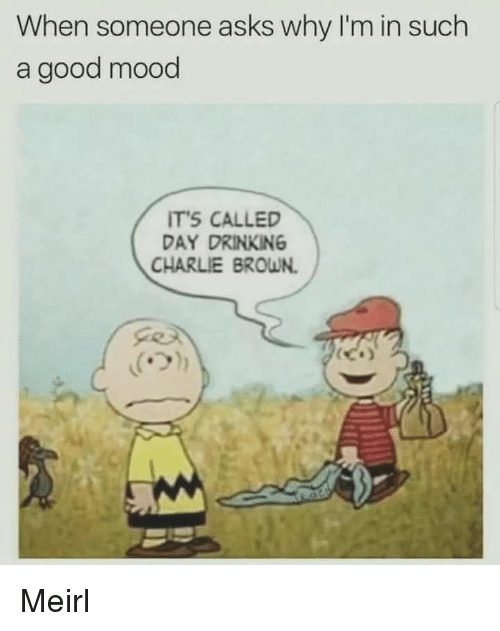 day drinking: When someone asks why I'm in such  a good mood  TS CALLED  DAY DRINKING  CHARLIE BROWN. Meirl
