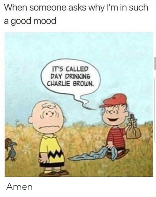 day drinking: When someone asks why I'm in such  a good mood  IT'S CALLED  DAY DRINKING  CHARLIE BROWN.  .(ウ)) Amen