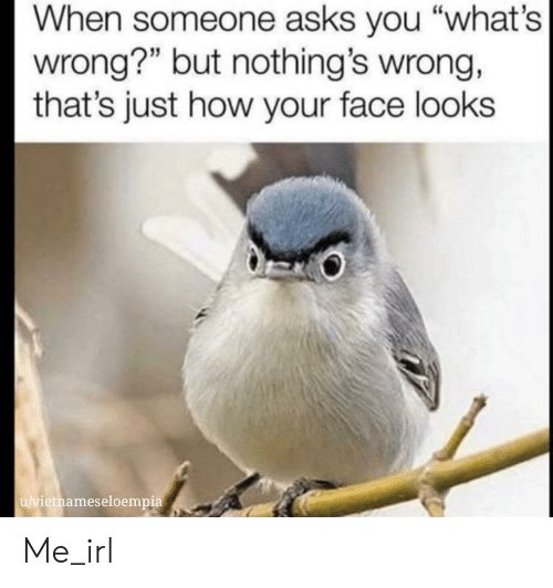 "your face: When someone asks you ""what's  wrong?"" but nothing's wrong,  that's just how your face looks  u/vietnameseloempia Me_irl"