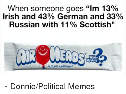 "Irish, Memes, and Control: When someone goes ""lm 13%  Irish and 43% German and 33%  Russian with 11% Scottish""  Mystery  OUT OF CONTROL - Donnie/Political Memes"