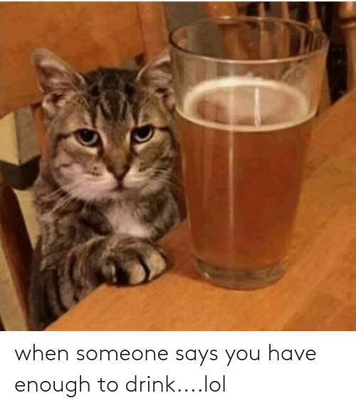 Says You: when someone says you have enough to drink....lol