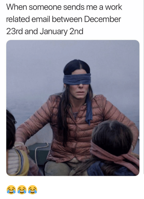 Memes, Work, and Email: When someone sends me a work  related email between December  23rd and January 2nd 😂😂😂