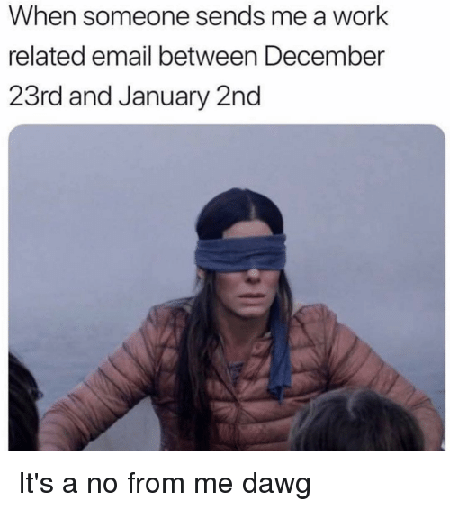 Work, Email, and Girl Memes: When someone sends me a work  related email between December  23rd and January 2nd It's a no from me dawg