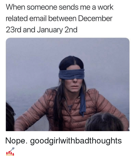 Memes, Work, and Email: When someone sends me a work  related email between December  23rd and January 2nd Nope. goodgirlwithbadthoughts 💅🏼