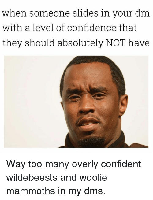 Confidence, Dank Memes, and They: when someone slides in your dm  with a level of confidence that  they should absolutely NOT have Way too many overly confident wildebeests and woolie mammoths in my dms.