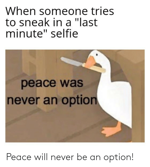 "Never Be: When someone tries  to sneak in a ""last  minute"" selfie  peace was  never an option Peace will never be an option!"