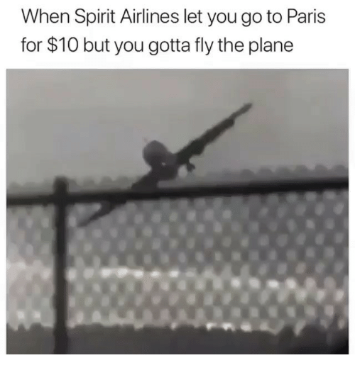 Ironic, Paris, and Spirit: When Spirit Airlines let you go to Paris  for $10 but you gotta fly the plane
