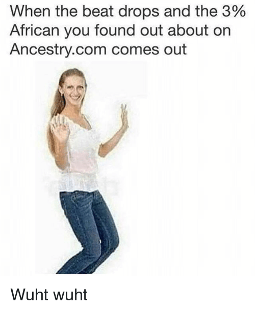 Funny, Ancestry, and ancestry.com: When the beat drops and the 3%  African you found out about on  Ancestry.com comes out Wuht wuht