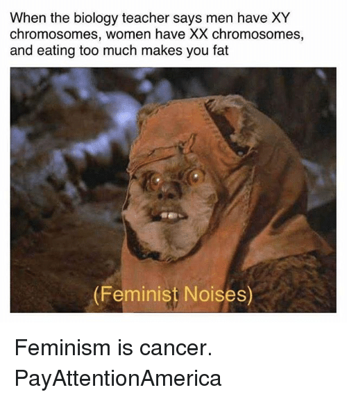 Feminism, Memes, and Teacher: When the biology teacher says men have XY  chromosomes, women have XX chromosomes,  and eating too much makes you fat  (Feminist Noises) Feminism is cancer. PayAttentionAmerica