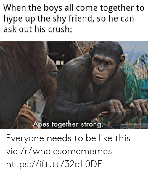apes: When the boys all come together to  hype up the shy friend, so he can  ask out his crush:  Apes together strong. Everyone needs to be like this via /r/wholesomememes https://ift.tt/32aL0DE