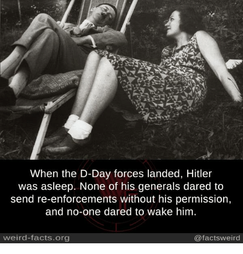 Hitlerism: When the D-Day forces landed, Hitler  was asleep. None of his generals dared to  send re-enforcements without his permission,  and no-one dared to wake him  weird-facts.org  @factsweird