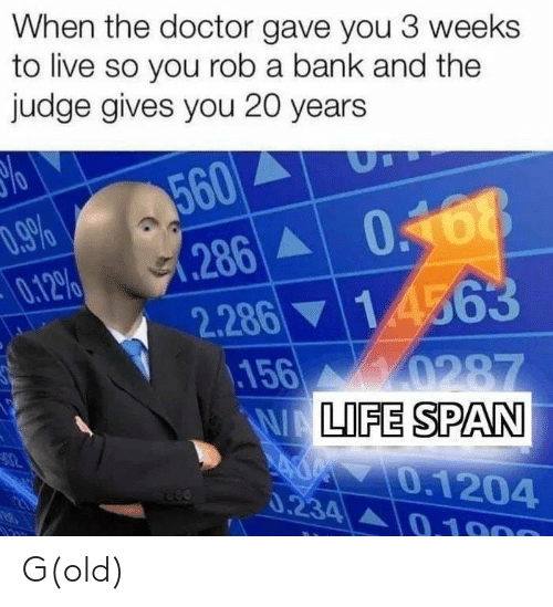 Doctor, Bank, and Live: When the doctor gave you 3 weeks  to live so you rob a bank and the  judge gives you 20 years  560  .9%  0.12%  0468  286A  1 4563  2.286  156  0287  WALIFE SPAN  0.1204  0.234 A0.1900 G(old)