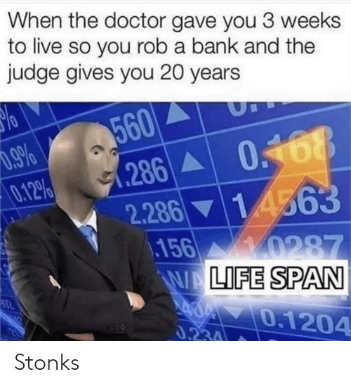 Doctor, Bank, and Live: When the doctor gave you 3 weeks  to live so you rob a bank and the  judge gives you 20 years  560  %66 0  286 0168  0.12%  2.286 14563  156 0287  WALIFE SPAN  0.1204  0.234 Stonks