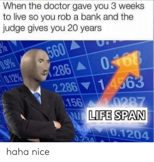 Doctor, Bank, and Live: When the doctor gave you 3 weeks  to live so you rob a bank and the  judge gives you 20 years  560  .286 0168  .9%  0.12%  1 4563  2.286  156 0287  WALIFE SPAN  0.1204  0.234 haha nice