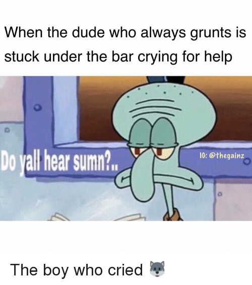 Crying, Dude, and Memes: When the dude who always grunts is  stuck under the bar crying for help  V1G: @thegainz  Do yall hear sumn  eHhg The boy who cried 🐺