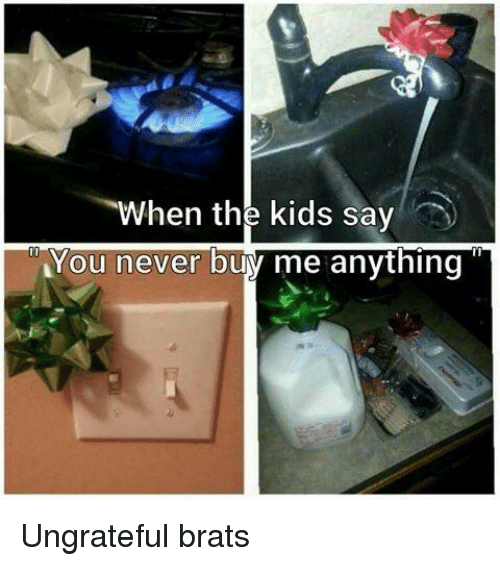 Buy Me: When the kids say  You never buy me anything Ungrateful brats