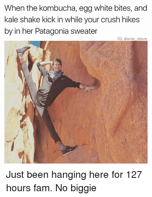 Crush, Fam, and Funny: When the kombucha, egg white bites, and  kale shake kick in while your crush hikes  by in her Patagonia sweater  IG: davie dave Just been hanging here for 127 hours fam. No biggie