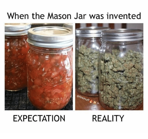 Memes, Reality, and 🤖: When the Mason Jar was invented  EXPECTATION  REALITY