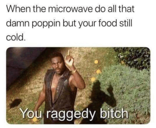 Bitch, Food, and Cold: When the microwave do all that  damn poppin but your food still  cold  You raggedy bitch