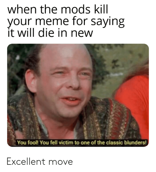 Meme, Dank Memes, and One: when the mods kill  your meme for saying  it will die in new  You fool! You fell victim to one of the classic blunders! Excellent move