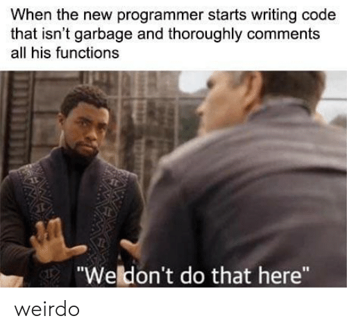 """Garbage, Code, and All: When the new programmer starts writing code  that isn't garbage and thoroughly comments  all his functions  """"Weldon't do that here"""" weirdo"""