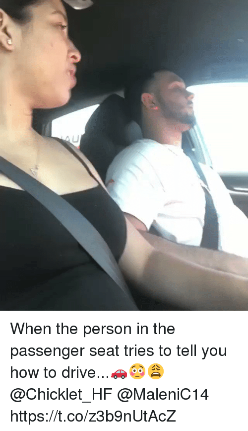 Drive, How To, and How: When the person in the passenger seat tries to tell you how to drive...🚗😳😩 @Chicklet_HF @MaleniC14 https://t.co/z3b9nUtAcZ