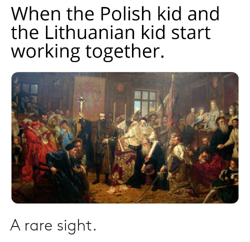 History, Lithuanian, and Working: When the Polish kid and  the Lithuanian kid start  working together. A rare sight.