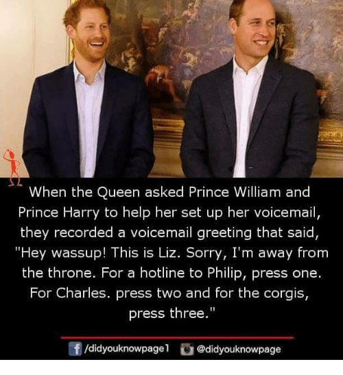"Memes, Prince, and Prince Harry: When the Queen asked Prince William and  Prince Harry to help her set up her voicemail,  they recorded a voicemail greeting that said  ""Hey wassup! This is Liz. Sorry, I'm away from  the throne. For a hotline to Philip, press one.  For Charles. press two and for the corgis,  press the""  0  /didyouknowpagel @didyouknowpage"