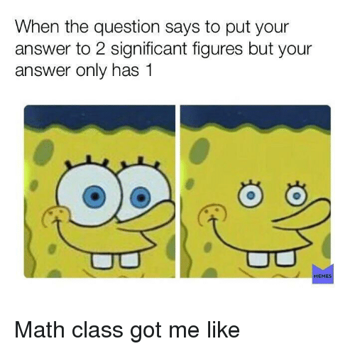 Memes, Math, and Got: When the question says to put your  answer to 2 significant figures but your  answer only has 1  MEMES Math class got me like