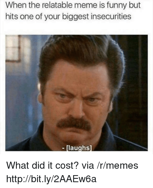 Funny, Meme, and Memes: When the relatable meme is funny but  hits one of your biggest insecurities  - [laughs What did it cost? via /r/memes http://bit.ly/2AAEw6a