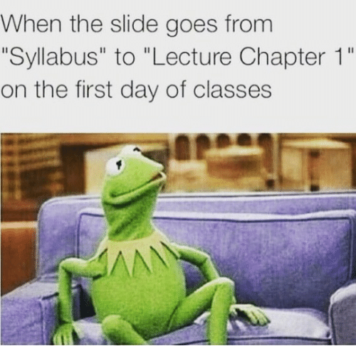 """Day, First, and Chapter: When the slide goes from  """"Syllabus"""" to """"Lecture Chapter 1""""  on the first day of classes"""