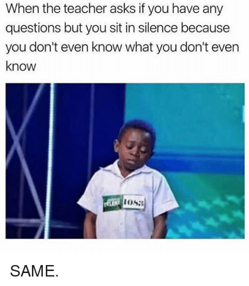 Memes, 🤖, and Ios: When the teacher asks if you have any  questions but you sit in silence because  you don't even know what you don't even  know  IOS: SAME.