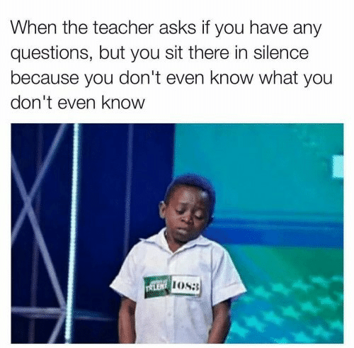 Teacher, Silence, and Asks: When the teacher asks if you have any  questions, but you sit there in silence  because you don't even know what you  don't even know  LENOS