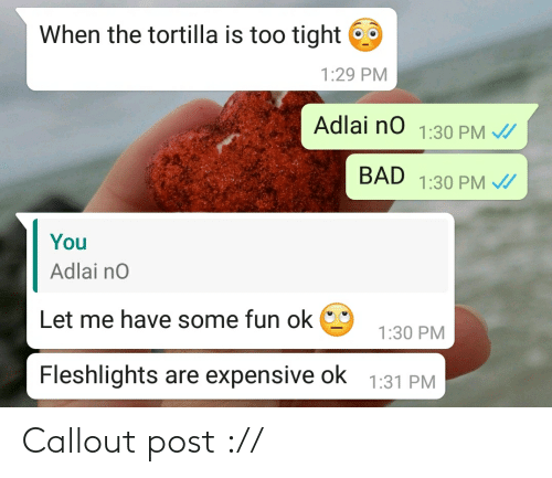 fleshlights: When the tortilla is too tight  1:29 PM  Adlai no 1:30 PM /  BAD 1:30 PM /  You  Adlai no  Let me have some fun ok  1:30 PM  Fleshlights are expensive ok  1:31 PM Callout post ://