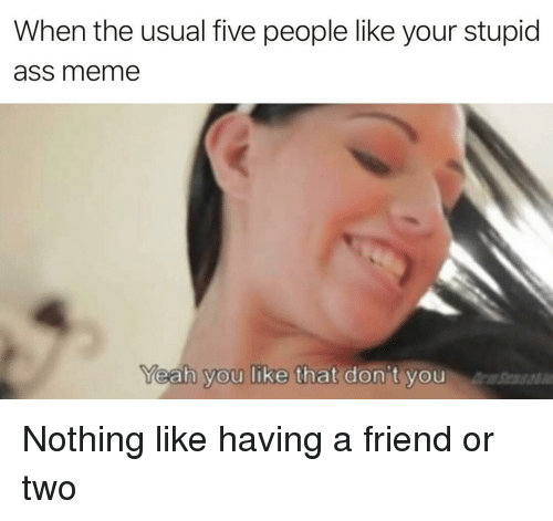 Ass, Meme, and Dank Memes: When the usual five people like your stupid  ass meme  eah you like that don't you Nothing like having a friend or two