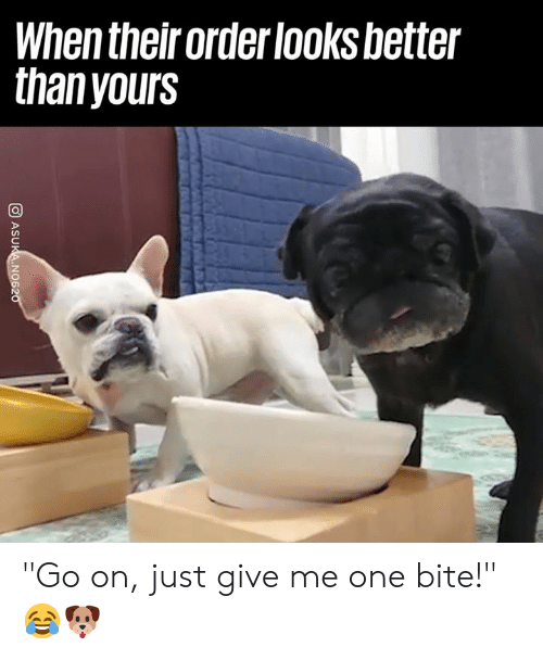 """Dank, 🤖, and One: When their order looksbetter  thanyours """"Go on, just give me one bite!"""" 😂🐶"""