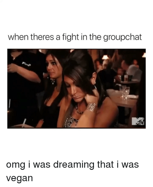 Omg, Vegan, and Girl Memes: when theres a fight in the groupchat omg i was dreaming that i was vegan