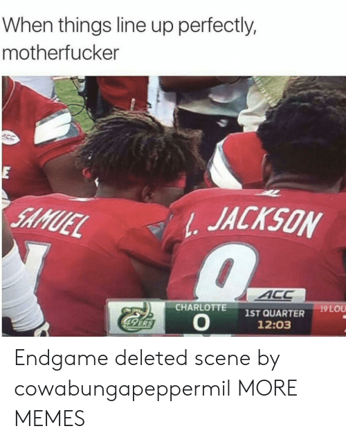 Dank, Memes, and Target: When things line up perfectly,  motherfucker  E  JACKSON  SAMUEL  ACC  19 LOU  CHARLOTTE  1ST QUARTER  12:03  49 ERS Endgame deleted scene by cowabungapeppermil MORE MEMES