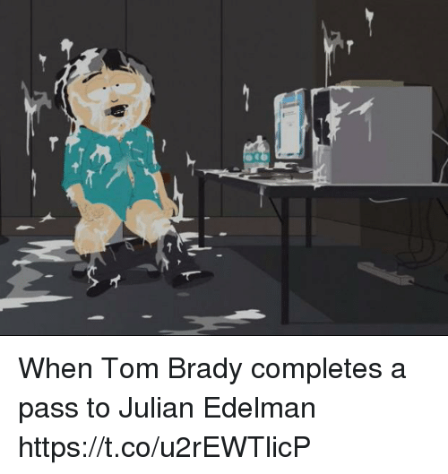 Tom Brady, Julian Edelman, and Brady: When Tom Brady completes a pass to Julian Edelman https://t.co/u2rEWTlicP