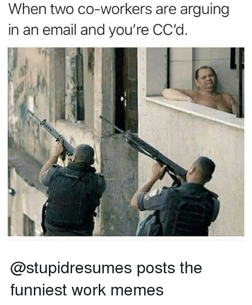 Work Memes: When two co-workers are arguing  in an email and you're CC'd @stupidresumes posts the funniest work memes
