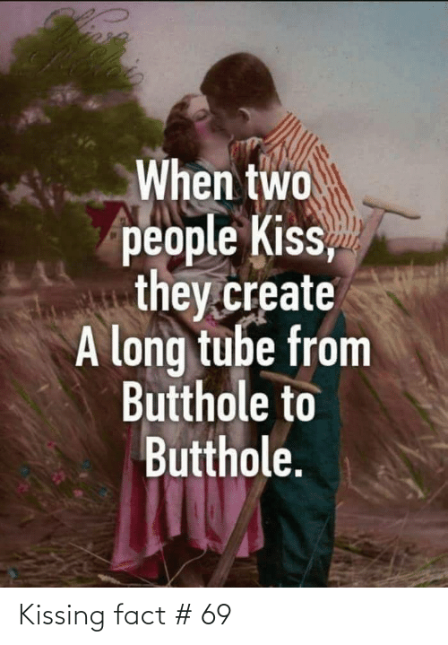 kissing: When two  people Kiss,  they.create  A long tube from  Butthole to  Butthole. Kissing fact # 69