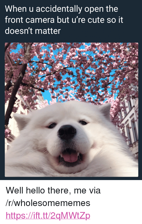 "Cute, Hello, and Camera: When u accidentally open the  front camera but u're cute so it  doesn't matter <p>Well hello there, me via /r/wholesomememes <a href=""https://ift.tt/2qMWtZp"">https://ift.tt/2qMWtZp</a></p>"