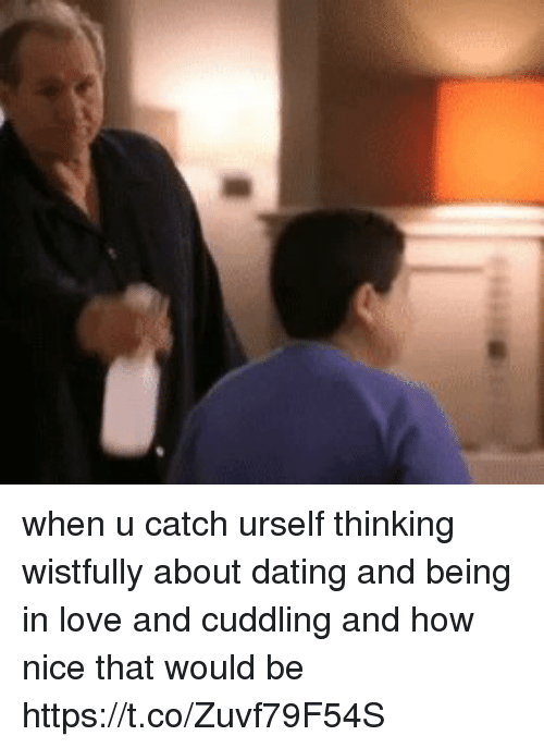 About Dating: when u catch urself thinking wistfully about dating and being in love and cuddling and how nice that would be https://t.co/Zuvf79F54S