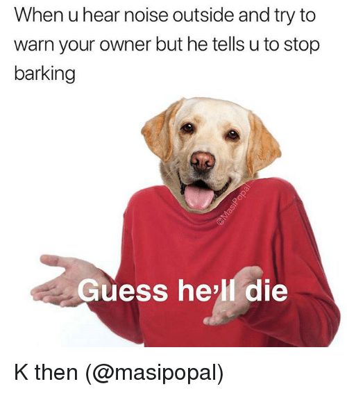Memes, Guess, and Hell: When u hear noise outside and try to  warn your owner but he tells u to stop  barking  Guess he'll die K then (@masipopal)
