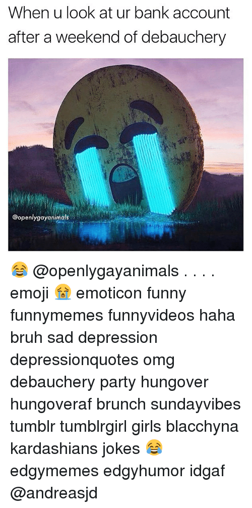 Bruh, Emoji, and Funny: When u look at ur bank account  after a weekend of debauchery  @openlygayanimals 😂 @openlygayanimals . . . . emoji 😭 emoticon funny funnymemes funnyvideos haha bruh sad depression depressionquotes omg debauchery party hungover hungoveraf brunch sundayvibes tumblr tumblrgirl girls blacchyna kardashians jokes 😂 edgymemes edgyhumor idgaf @andreasjd
