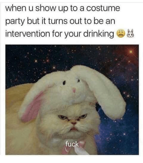 Drinking, Party, and Fuck: when u show up to a costume  party but it turns out to be an  intervention for your drinking  fuck