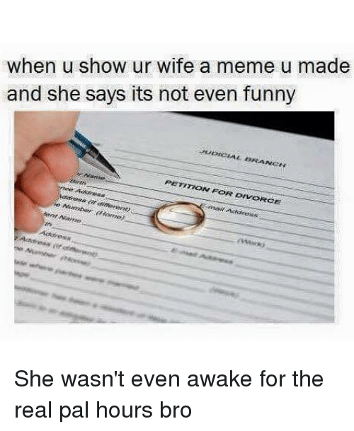 Funny, Meme, and Home: when u show ur wife a meme u made  and she says its not even funny  JUDICIAL BRANCH  PETITION FOR DIVORCE  nce Aakresst  nail Address  (if different)  e Number (Home)  nt Name  Address She wasn't even awake for the real pal hours bro