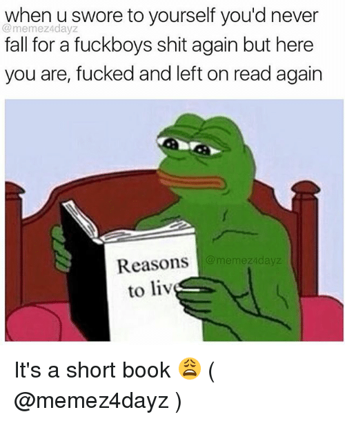 Fall, Shit, and Book: when u swore to yourself you'd never  @memez4dayz  fall for a fuckboys shit again but here  you are, fucked and left on read again  Reasons  to liv  memez4dayz It's a short book 😩 ( @memez4dayz )