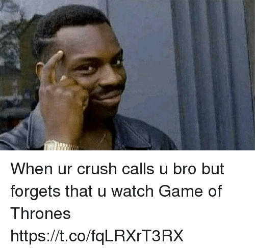 Crush, Game of Thrones, and Memes: When ur crush calls u bro but forgets that u watch Game of Thrones https://t.co/fqLRXrT3RX