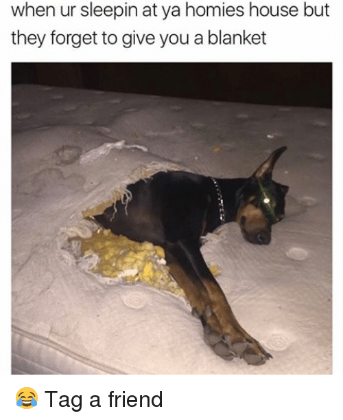 Memes, House, and 🤖: when ur sleepin at ya homies house but  they forget to give you a blanket 😂 Tag a friend